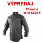 VÝPREDAJ! Pánska monterková košeľa ATANAS s dlhým rukávom prispôsobiteľnej dĺžky. Pracovná čierno sivá farba v kombinácii so zelenými prvkami. Veľkosť: 39-46.