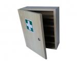 Nástenná drevená skrinka na lekárničku s náplňou