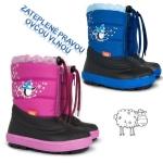 SKLADOM! Detské zateplené čižmičky KENNY, zateplené pravou ovčou vlnou, farba: ružová, modrá, veľ.: 20-35