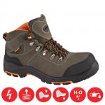BEŽNE SKLADOM! Bezpečnostná trekingová celokožená členková obuv GRINDER S3 bez kovových častí s kompozitnou špicou a kevlarovou planžetou. Antistatická, s absorpciou energie v oblasti päty.  Norma: EN 20345. Veľkosť: 36-48