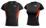 SKLADOM! Pánsky/ dámsky funkčný nátelník COMFORT s krátkym rukávom, s bambusovým vláknom, rýchle a rovnomerné schnutie, 93% viskóza/bambusové vlákno/, 7% elastan, 230g/m2 čierne s kontrastným šitím v oranžovej farbe