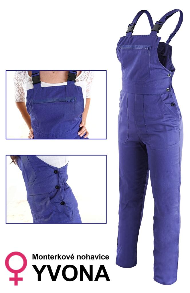 Dámske montérkové nohavice s náprsenkou YVONA