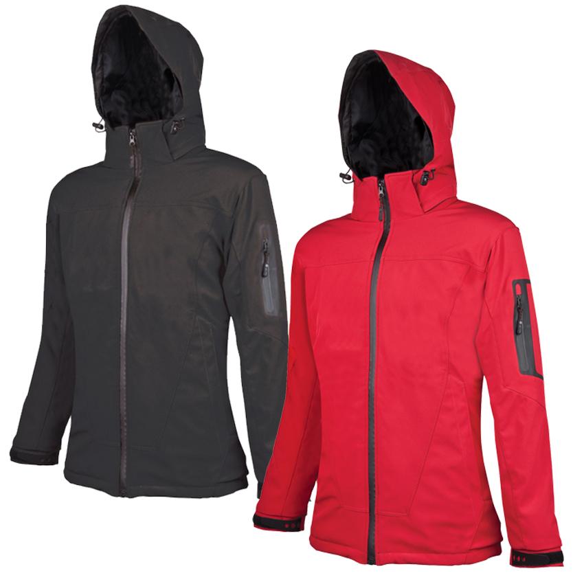 Dámska softshellová bunda s odopínateľnou kapucňou. Na spodnom leme a na  kapucni 6aa22ed1da9