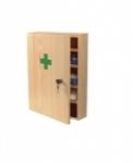 Lekárnička drevená, nástenná. S náplňou, bez liečiv. Rozmer 43x30x14 cm.