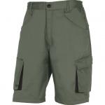 DOPREDAJ! - montérkové krátke nohavice PANOSTYLE z kvalitného zmesového materiálu keper 65%, 35% polyester. 235g/m2, - praktická dĺžka po kolená - s decentnými doplnkami v zelenej farbe - elastická časť v páse a po stranách Farba: sivo-čierna V