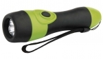 SKLADOM! Svietidlo čierno-zelené s 3xLED (priemer 5 mm). Dosvit: 45 m. Napájanie: 2xAA 1,5 V (tužka).  Doba svietenia: 65 hodín.  Nárazuvzdorná do 1 m. Rozmer: 41x151 mm.