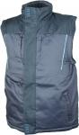 DODANIE 3-7 DNÍ! Pánska zimná vesta, vrchný materiál: 65% polyester, 35% bavlna, podšívka: TAFFERTA 190T, zateplenie: 100% polyester, 200GSM, modrá reflexná potlač, farba: sivo-čierna, veľ.: M-3XL