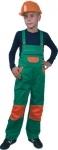 SKLADOM! Detské montérkové nohavice PINOCHIO s náprsenkou. Zosilnený sed, kolená. Náprsné vrecká. 65% bavlna, 35% polyester, 230 g/m2