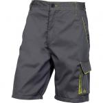 DODANIE 3-5 DNÍ! Montérkové krátke nohavice PANOSTYLE z kvalitného zmesového materiálu keper 65%, 35% polyester. 235g/m2, - praktická dĺžka po kolená - s decentnými doplnkami v zelenej farbe - elastická časť v páse a po stranách Farba: sivo-čierna V