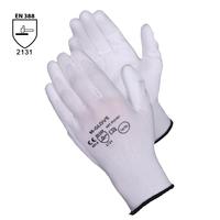 Pracovné rukavice M-GLOVE biele máčané v polyuretáne