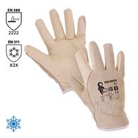 Zateplené pracovné rukavice URBI WINTER celokožené