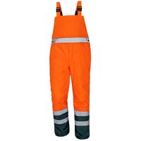 Nohavice PADSTOW s náprsenkou zateplené reflexné oranžové  3XL